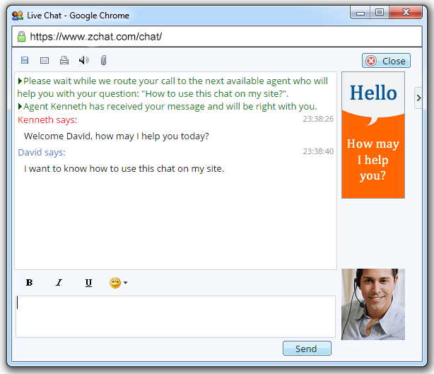 live chat window